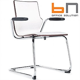 BN Leather Padded Wooden Cantilever Conversa Chair £208 - Bistro Furniture