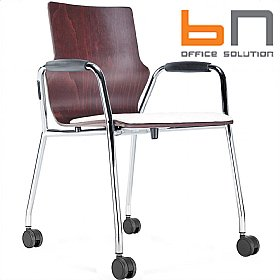 BN Mobile Leather Padded Wooden Conversa Chair £149 - Office Chairs