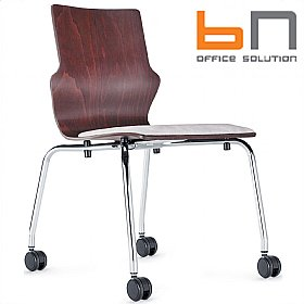 BN Conversa Upholstered Wooden Mobile 4-Leg Chair £130 - Office Chairs