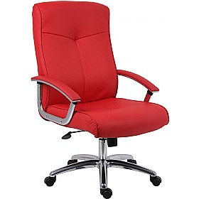 Brighton Red Leather Faced Manager Chair £195 - Office Chairs