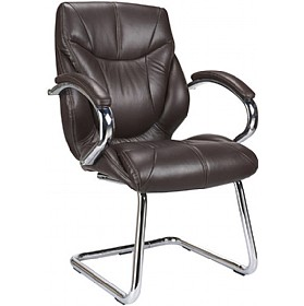 Geneva Brown Leather Faced Visitor Chair £228 - Office Chairs