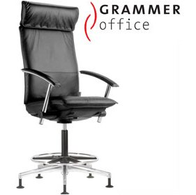 Grammer Office Tiger UP Leather Counter Armchair With Headrest £1000 - Office Chairs