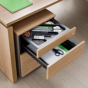 BN SQart Managerial Veneer 3 Drawer Mobile Pedestals With Pen Drawer