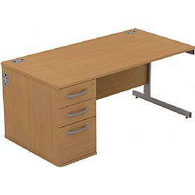 Alpha Plus Rectangular Combination Desk £247 - Office Desks