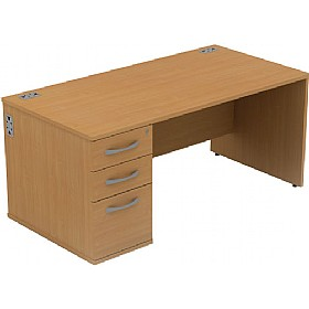 Alpha Plus Rectangular Panel End Combination Desk £259 - Office Desks