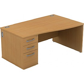 Alpha Plus Wave Panel End Combination Desk £273 - Office Desks