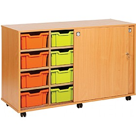 14 Variety Sliding Door Tray Storage Unit £359 - Education Furniture
