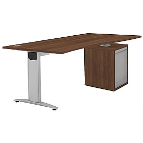 Protocol iBeam Wave Desk With Tambour Pedestal £479 - Office Desks