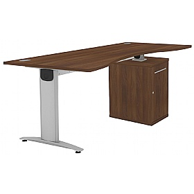 Protocol iBeam Double Wave Desk With Cupboard Pedestal £481 - Office Desks