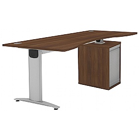 Protocol iBeam Double Wave Desk With Tambour Pedestal £490 - Office Desks