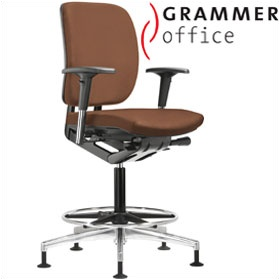 Grammer Office GLOBEline Ring Base Medium Back Leather Reception Chair £386 - Office Chairs