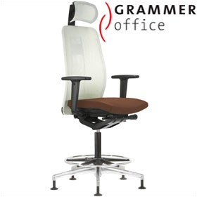 Grammer Office GLOBEline Ring Base High Back Mesh & Leather Reception Chair With Headrest £596 - Office Chairs