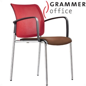Grammer Office Passu Mesh & Leather Upholstered 4-Leg Side Chair £159 -
