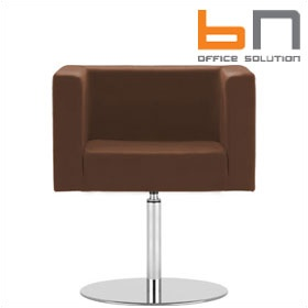 BN Dallas Leather Disc Base Reception Chair £508 - Reception Furniture