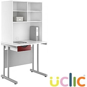 NEXT DAY Create Reflections Single Drawer Desks With Open Storage £201 - Next Day Office Furniture