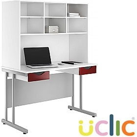 NEXT DAY Create Reflections Double Drawer Desks With Open Storage £284 - Next Day Office Furniture