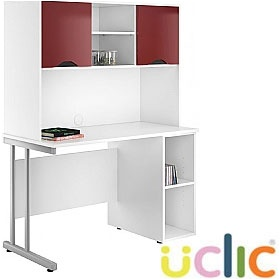 NEXT DAY Create Reflections Open Pedestal Desk With Closed Storage £323 - Next Day Office Furniture