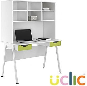 NEXT DAY Aspire Kaleidoscope Double Drawer Desks With Open Storage £278 - Next Day Office Furniture