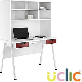 NEXT DAY Aspire Reflections Double Drawer Desks With Open Storage £309 - Next Day Office Furniture