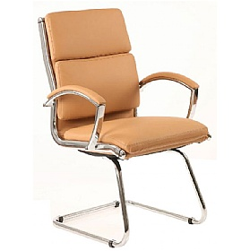 Formosa Enviro Leather Cantilever Chair Tan £220 - Office Chairs