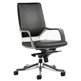Profi Leather Faced Medium Back Office Chair Black £210 - Office Chairs