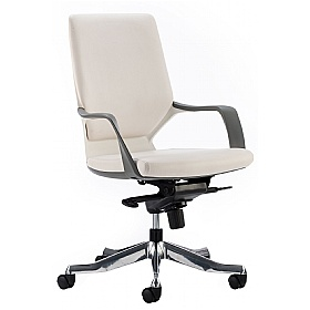 Profi Leather Faced Medium Back Office Chair White £202 - Office Chairs