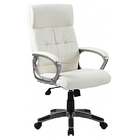 Dereham Executive Leather Faced Office Chair Ivory | Leather Office Chairs  Less Than £100