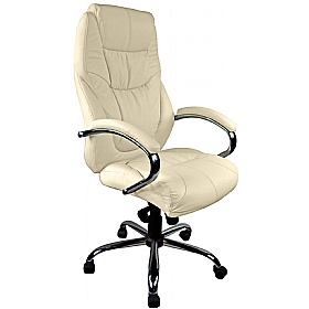 Genoa Top Leather Executive Office Chair Cream £149 - Office Chairs