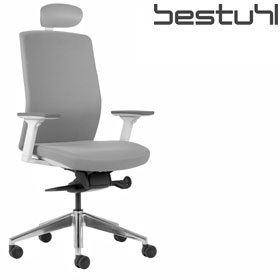 Bestuhl J2 White & Grey Fabric Task Chair With Headrest £361 - Office Chairs