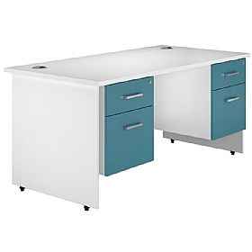NEXT DAY Kaleidoscope Panel End Double Fixed Pedestal Desk £365 - Next Day Office Furniture