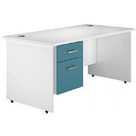 NEXT DAY Kaleidoscope Panel End Single Fixed Pedestal Desks £254 - Next Day Office Furniture