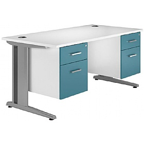 NEXT DAY Kaleidoscope Cantilever Deluxe Double Fixed Pedestal Desks £398 - Next Day Office Furniture