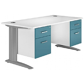 NEXT DAY Kaleidoscope Cantilever Premium Double Fixed Pedestal Desks £397 - Next Day Office Furniture