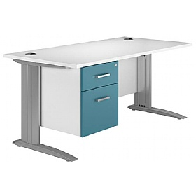 NEXT DAY Kaleidoscope Cantilever Premium Single Fixed Pedestal Desks £288 - Next Day Office Furniture