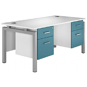 NEXT DAY Kaleidoscope Rectangular Double Bench Desks With Fixed Pedestal £423 - Next Day Office Furniture