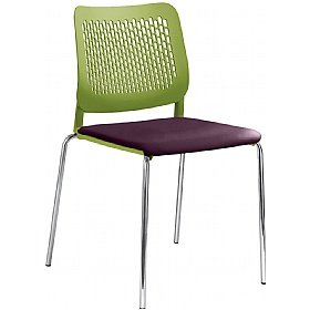Time Faux Leather Padded Plastic 4-Leg Stackable Chairs £147 - Bistro Furniture