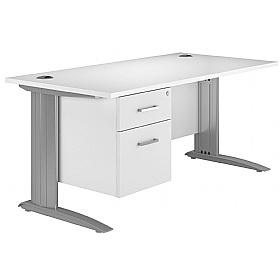 NEXT DAY Polar Cantilever Rectangular IT Desk With Fixed Pedestal £272 - Next Day Office Furniture