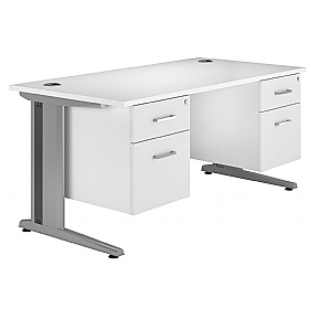 NEXT DAY Polar Cantilever Rectangular Systems Desk With 2 Fixed Pedestals £378 - Next Day Office Furniture