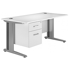 NEXT DAY Polar Cantilever Rectangular Systems Desk With Fixed Pedestal £260 - Next Day Office Furniture