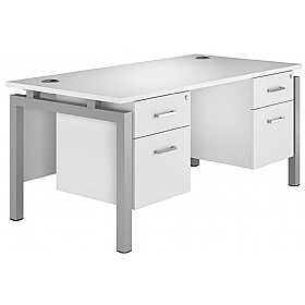 NEXT DAY Polar Rectangular Bench Desks With Double Fixed Pedestals £447 - Next Day Office Furniture