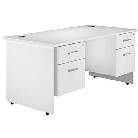 NEXT DAY Polar Panel End Double Fixed Pedestal Desks £365 - Next Day Office Furniture