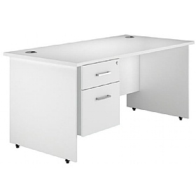 NEXT DAY Polar Panel End Single Fixed Pedestal Desks £240 - Next Day Office Furniture