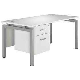 NEXT DAY Polar Rectangular Bench Desks With Fixed Pedestal £317 - Next Day Office Furniture
