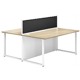 NEXT DAY Duo Back To Back Desks With Deluxe Screens £354 - Next Day Office Furniture