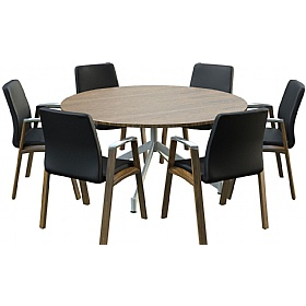 Sven Ambus Veneer Circular V-Base Meeting Tables £771 - Meeting Room Furniture