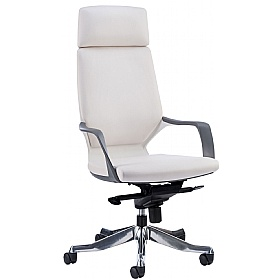 Profi Leather Faced Executive Office Chair White £229 - Office Chairs