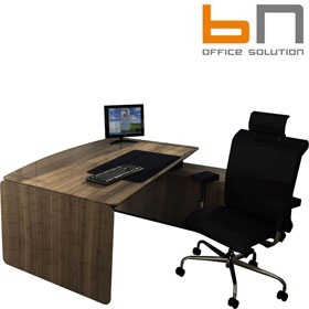 BN eRange Bow Fronted Managerial Desks With 2000mm Right Side Board £7354 - Office Desks