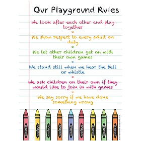 Crayons Playground Rules School Sign £0 - Education Furniture