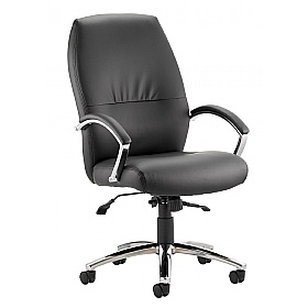 Convene High Back Enviro Leather Executive Chair Black £138 - Office Chairs