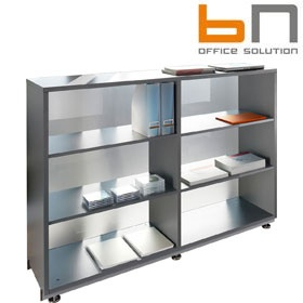 BN Primo Space Veneered Glass Back Bookcases £706 - Office Desks